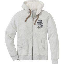 Bluza rozpinana z podszewką barankiem w kapturze Regular Fit bonprix naturalny melanż. Białe bluzy męskie rozpinane bonprix, l, melanż. Za 109,99 zł.
