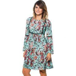 Długie sukienki: Sukienka w kolorze turkusowym ze wzorem