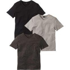 T-shirt z dekoltem w serek (3 szt.) Regular Fit bonprix antracytowy melanż + jasnoszary melanż + czarny. Czarne t-shirty męskie bonprix, l, melanż, z dekoltem w serek. Za 74,97 zł.