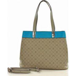 Dwukomorowa torebka na ramię CARPISA taupe/turquoise. Szare torebki klasyczne damskie CARPISA, ze skóry. Za 167,00 zł.
