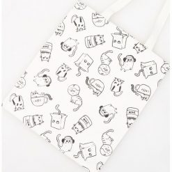 Torebki i plecaki damskie: Płócienna torba z nadrukiem w kotki – Kremowy