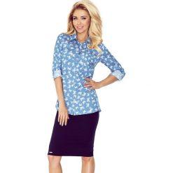 Koszula z KIESZONKAMI - JASNY JEANS + MOTYLKI. Niebieskie koszule jeansowe damskie marki morimia, s, biznesowe. Za 119,99 zł.