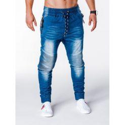 SPODNIE MĘSKIE JEANSOWE JOGGERY P649 - NIEBIESKIE. Niebieskie joggery męskie Ombre Clothing, z bawełny. Za 75,00 zł.