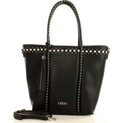 NOBO Elegancka torebka shopper z perełkami czarny. Brązowe shopper bag damskie marki Nobo, w paski, ze skóry ekologicznej. Za 249,00 zł.
