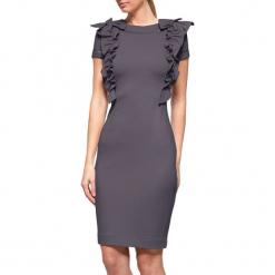 Sukienka w kolorze szarym. Szare sukienki na komunię marki YULIYA BABICH, xs, z dekoltem na plecach, midi. W wyprzedaży za 379,95 zł.