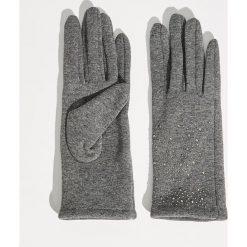 Rękawiczki z połyskującą aplikacją - Szary. Szare rękawiczki damskie marki Sinsay, z aplikacjami. Za 19,99 zł.