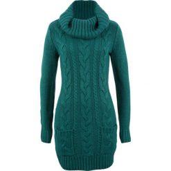Sukienka dzianinowa bonprix głęboki zielony. Czarne sukienki dzianinowe marki bonprix, w koronkowe wzory. Za 89,99 zł.