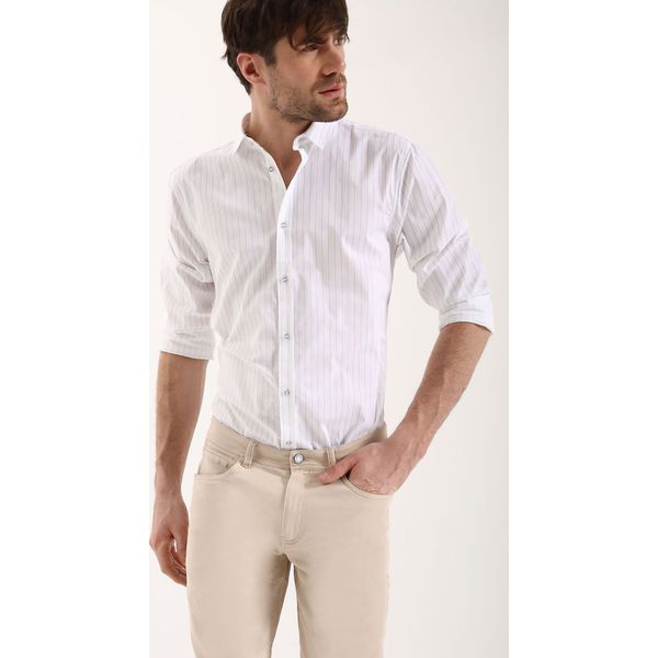 f54576564 KOSZULA DŁUGI RĘKAW MĘSKA SLIM FIT - Szare koszule męskie Top Secret, na  lato, m, w paski, z bawełny, z długim rękawem. Za 29,99 zł.