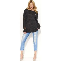 Swetry klasyczne damskie: Czarny Sweter Dłuższy Melanżowy z Dziurami