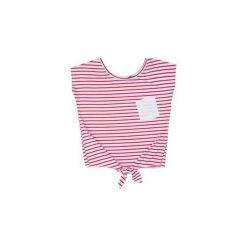Bluzka damska Z KIESZONKĄ wiązana w paski. Różowe bluzki z odkrytymi ramionami TXM, w paski. Za 12,99 zł.