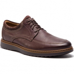 Półbuty CLARKS - Un Geo Leo 261367977 Dark Brown Leather. Brązowe półbuty skórzane męskie Clarks. W wyprzedaży za 319,00 zł.