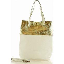 Torebka skórzana Brigida MAZZINI - biała / gold. Białe torebki worki MAZZINI, w geometryczne wzory, ze skóry, duże. Za 279,00 zł.