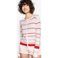 Sweter rozpinany w paski. Szare kardigany damskie marki La Redoute Collections, m, z bawełny, z kapturem. Za 88,16 zł.