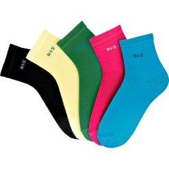 Skarpetki damskie: Krótkie skarpetki H.I.S (5 par) bonprix zielony + różowy + turkusowy + jasnożółty + czarny