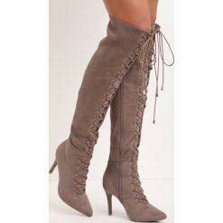Brązowe Kozaki Rift. Brązowe buty zimowe damskie marki Born2be, na wysokim obcasie, na szpilce. Za 74,99 zł.