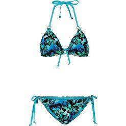 Stroje kąpielowe damskie: Bikini z trójkątnymi miseczkami bonprix niebieski wzorzysty