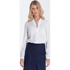 Ecru Elegancka Koszulowa Bluzka z Dekoltem w Szpic. Szare bluzki koszulowe Molly.pl, l, biznesowe, z długim rękawem. Za 121,90 zł.