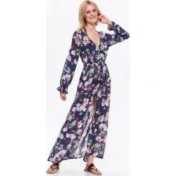 SUKIENKA DAMSKA, W KWIATY, DŁUGA, NA WAKACJE. Szare długie sukienki marki Top Secret, na jesień, w kwiaty, eleganckie, z długim rękawem. Za 49,99 zł.