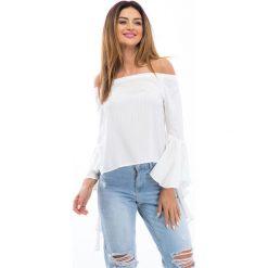Kremowa bluzka z hiszpańskim rękawem 21467. Białe bluzki na imprezę Fasardi, m. Za 59,00 zł.