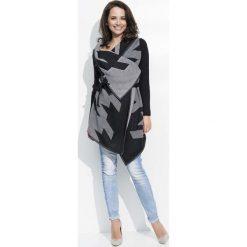 Bolerka i narzutki damskie: Czarno Szary Sweter Narzutka z Graficznym Wzorem