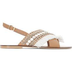 Rzymianki damskie: Skórzane sandały z koralikami, szeroka stopa 38-45
