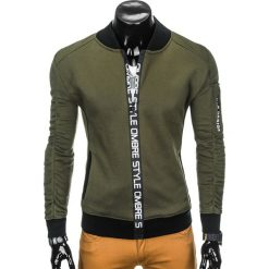 BLUZA MĘSKA ROZPINANA BEZ KAPTURA B739 - KHAKI. Brązowe bluzy męskie rozpinane marki Ombre Clothing, m, z bawełny, bez kaptura. Za 69,00 zł.