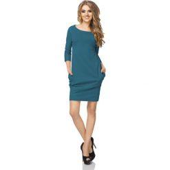 Morska Sukienka z Drapowaniem i Kieszeniami. Zielone sukienki mini Molly.pl, na co dzień, l, z bawełny, casualowe, oversize. Za 119,90 zł.