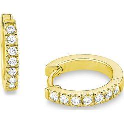 Biżuteria i zegarki: Pozłacane kolczyki-kreole z cyrkoniami
