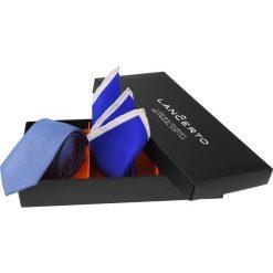 Zestaw Krawat plus Poszetka. Niebieskie krawaty męskie LANCERTO, w geometryczne wzory, biznesowe. Za 149,90 zł.