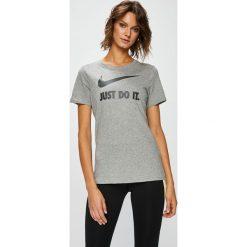 Nike Sportswear - Top 889403. Szare topy sportowe damskie marki Nike Sportswear, l, z nadrukiem, z bawełny, z okrągłym kołnierzem. W wyprzedaży za 69,90 zł.
