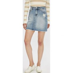 Tommy Jeans - Spódnica. Szare minispódniczki marki Tommy Jeans, z bawełny, proste. W wyprzedaży za 279,90 zł.