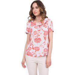 Bluzki damskie: Kolorowa bluzka z krótkim rękawem oraz marszczeniem na przodzie BIALCON