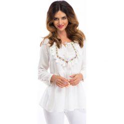 Kremowa bluzka w stylu boho 8417. Białe bluzki damskie marki Fasardi, l, boho. Za 55,20 zł.