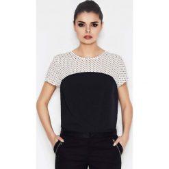 Biało-czarna Dwubarwna Bluzka z Motywem Kropek. Czarne bluzki wizytowe Molly.pl, l, w kropki, z tkaniny, eleganckie. Za 79,90 zł.