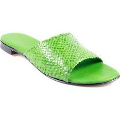 """Chodaki damskie: Skórzane klapki """"Hanna"""" w kolorze zielonym"""