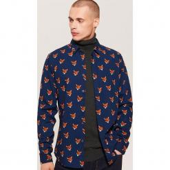 Koszula w liski - Granatowy. Czarne koszule męskie marki House, l, z nadrukiem. Za 89,99 zł.
