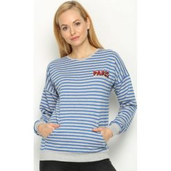 Bluzy damskie: Szaro-Niebieska Bluza Merry Heart