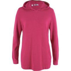 Swetry klasyczne damskie: Sweter z kapturem bonprix jeżynowo-czerwony