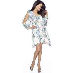 Sukienki: Biała Sukienka Asymetryczna z Rozciętymi Rękawami
