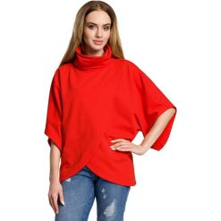 Bluzki damskie: Czerwona Oversizowa Bluzka Kopertowa z Golfem