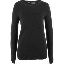 Swetry klasyczne damskie: Sweter z kieszonką bonprix czarny