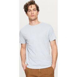 T-shirty męskie: Gładki t-shirt z lnem – Niebieski