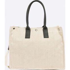 Answear - Torebka. Szare torebki klasyczne damskie ANSWEAR, w paski, z materiału, duże. W wyprzedaży za 79,90 zł.