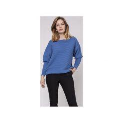 Sweter z fakturą, SWE160 niebieski MKM. Niebieskie swetry klasyczne damskie Mkm swetry, l, z dzianiny, z dekoltem w łódkę. Za 118,00 zł.