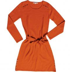Sukienka kaszmirowa w kolorze musztardowym. Brązowe sukienki na komunię Ateliers de la Maille, na imprezę, z aplikacjami, z kaszmiru, z okrągłym kołnierzem, midi. W wyprzedaży za 545,95 zł.