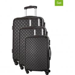 Zestaw walizek w kolorze czarnym - 3 szt. Czarne walizki marki Platinium, z materiału. W wyprzedaży za 539,95 zł.