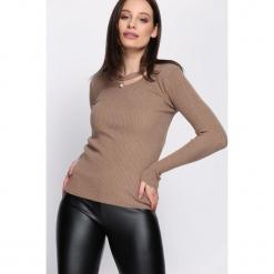 Jasnobrązowy Sweter Shine Brightly. Szare swetry klasyczne damskie Born2be, na jesień, uniwersalny. Za 39,99 zł.