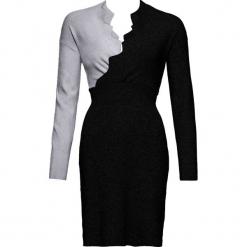 Sukienka dzianinowa bonprix czarno-szary. Brązowe sukienki dzianinowe marki Mohito, l, z kopertowym dekoltem, kopertowe. Za 109,99 zł.