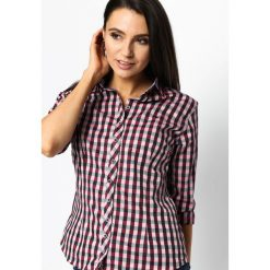 Bordowa Koszula Fine Check. Zielone koszule damskie w kratkę marki Mohito, l, z wykładanym kołnierzem. Za 79,99 zł.