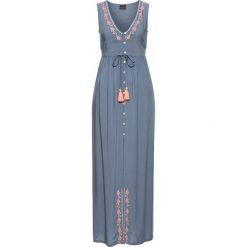 Sukienki: Sukienka z haftem bonprix dymny niebieski – neonowy pomarańczowy